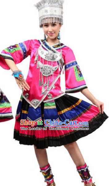 Traditional Chinese Miao Nationality Ethnic Clothing, China Hmong Minority Folk Dance Costume and Headwear for Women
