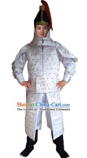 Traditional Chinese Ancient Manchu General White Costume Qing Dynasty Warriors Historical Body Armor and Helmet Complete Set