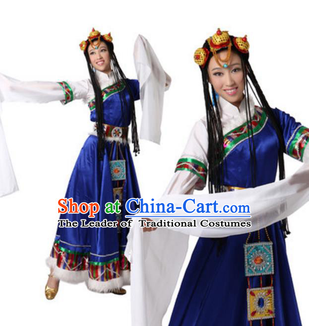Traditional Chinese Zang Ethnic Dance Blue Dress, China Tibetan Minority Folk Dance Costume and Headwear for Women