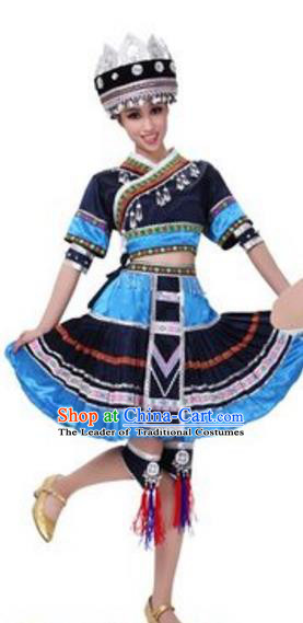 Traditional Chinese Miao Ethnic Dance Dress, China Hmong Minority Folk Dance Costume and Headwear for Women