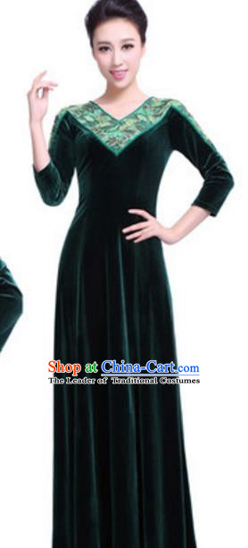 Top Grade Chorus Group Choir Green Velvet Full Dress, Compere Stage Performance Modern Dance Costume for Women