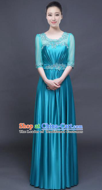 Top Grade Chorus Group Blue Full Dress, Compere Stage Performance Classical Dance Choir Costume for Women