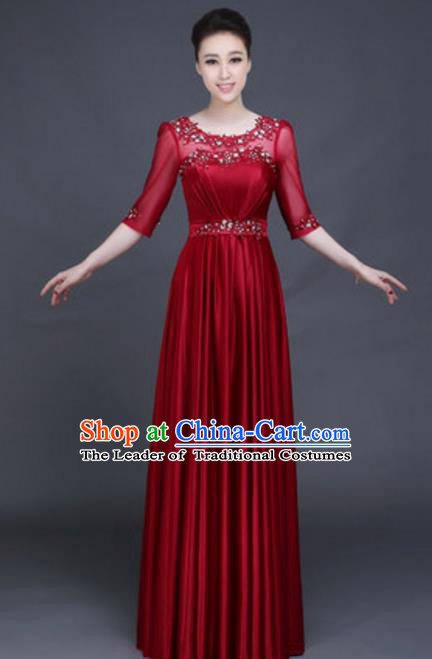 Top Grade Chorus Group Wine Red Full Dress, Compere Stage Performance Classical Dance Choir Costume for Women