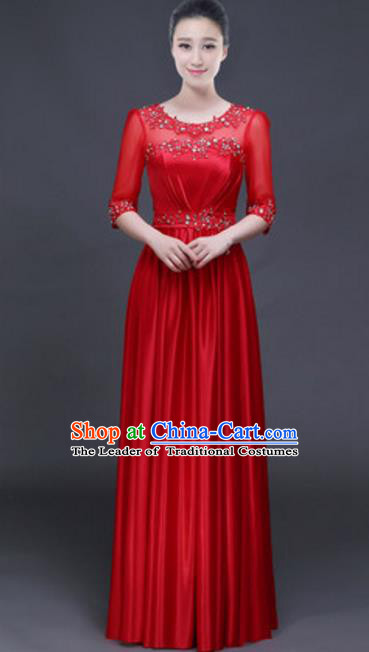 Top Grade Chorus Group Red Full Dress, Compere Stage Performance Classical Dance Choir Costume for Women