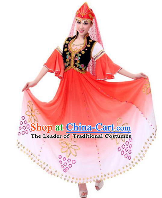 Traditional Chinese Uyghur Nationality Dancing Costume and Hat, China Uigurian Minority Folk Dance Ethnic Pleated Skirt for Women