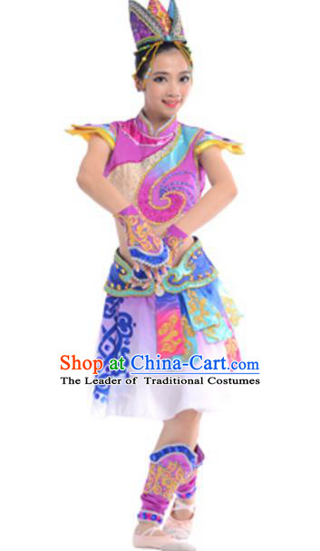 Traditional Chinese Mongols Nationality Costume, Chinese Mongolian Ethnic Dance Purple Clothing for Women