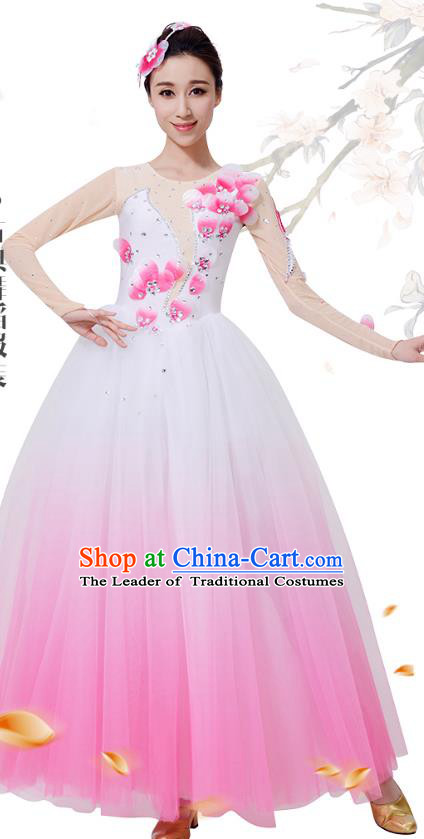 Top Grade Chinese Classical Dance Pink Dress, Compere Stage Performance Choir Costume for Women