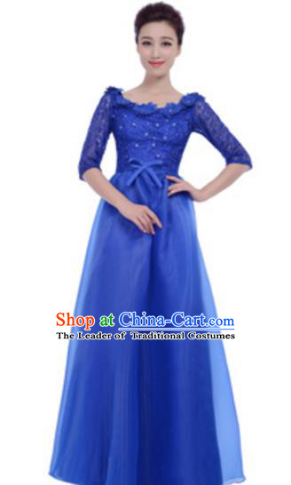 Top Grade Chorus Group Royalblue Full Dress, Compere Stage Performance Choir Costume for Women