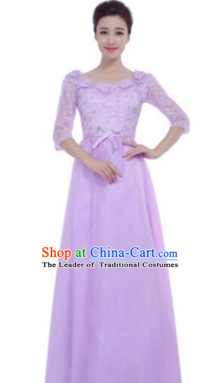 Top Grade Chorus Group Lilac Full Dress, Compere Stage Performance Choir Costume for Women