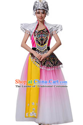 Traditional Chinese Miao Nationality Dance Pink Dress, China Hmong Minority Folk Dance Ethnic Costume and Headwear for Women