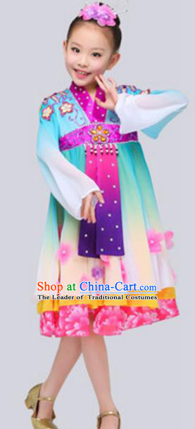 Traditional Chinese Nationality Dance Dress, China Koreans Minority Folk Dance Ethnic Costume for Kids