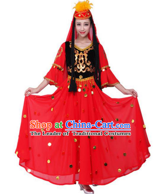Traditional Chinese Uyghur Nationality Dance Red Dress, China Uigurian Minority Folk Dance Ethnic Costume and Hat for Women