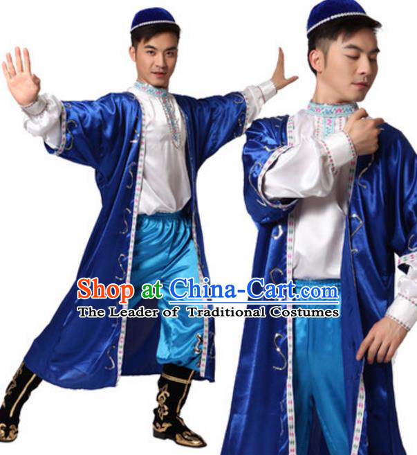 Traditional Chinese Uyghur Nationality Dance Clothing, China Uigurian Minority Folk Dance Ethnic Costume and Headwear for Men