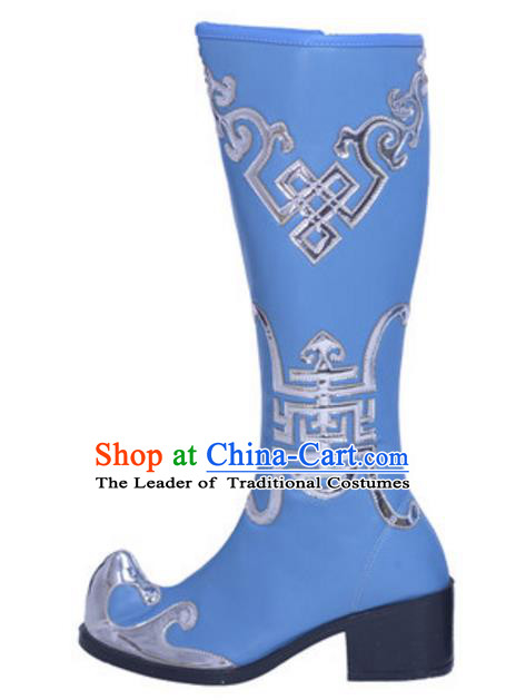 Chinese Traditional Zang Nationality Dance Shoes, Tibetan Minority Folk Dance Blue Boots for Women
