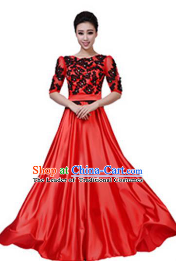 Top Grade Chorus Group Red Long Full Dress, Compere Stage Performance Choir Costume for Women