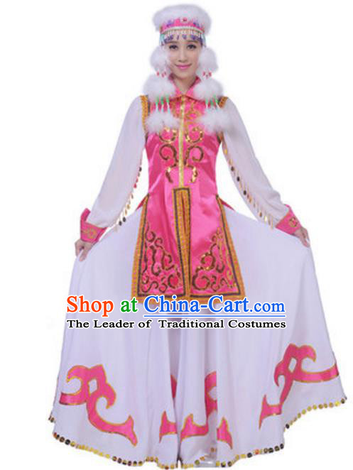 Traditional Chinese Mongol Nationality Princess Clothing, China Mongolian Minority Folk Dance Ethnic Costume and Headwear for Women