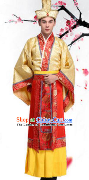 Traditional Chinese Ancient Emperor Costume Han Dynasty Imperator Historical Clothing and Headwear Complete Set