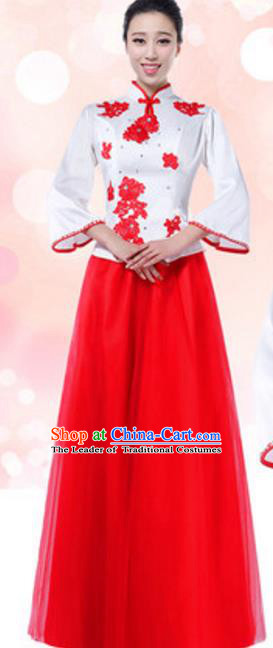 Top Grade Chinese Chorus Group Full Dress, Compere Stage Performance Choir Costume for Women