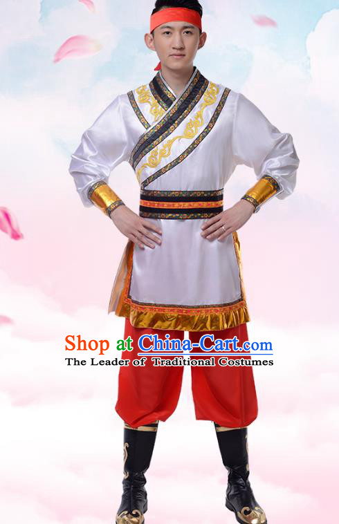 Traditional Chinese Mongols Nationality Clothing, China Mongolian Minority Dance Ethnic Costume for Men