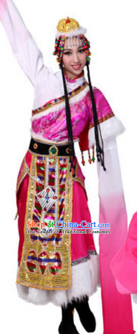 Traditional Chinese Zang Nationality Dance Clothing, China Tibetan Minority Ethnic Costume for Women