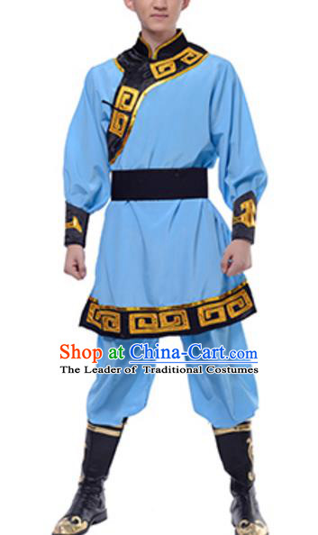 Traditional Chinese Mongols Nationality Blue Clothing, China Mongolian Minority Dance Ethnic Costume for Men
