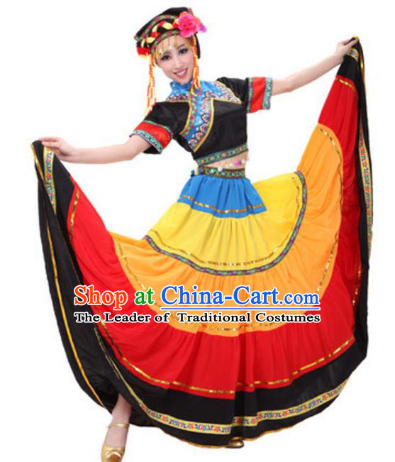 Traditional Chinese Yi Nationality Peacock Dance Costume, Chinese Ethnic Torch Festival Dance Dress for Women