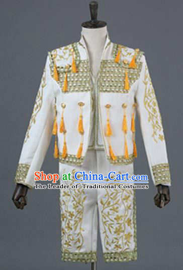 Top Grade European Traditional Court Costumes England Prince White Suits for Men