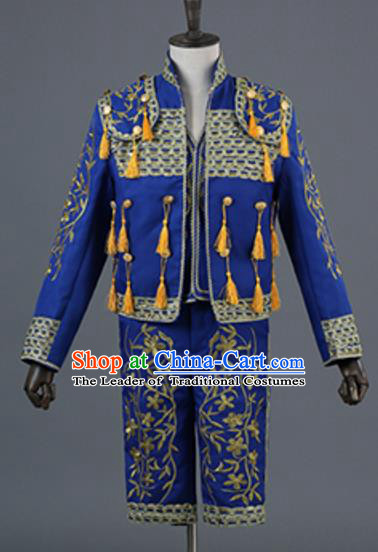 Top Grade European Traditional Court Costumes England Prince Blue Suits for Men