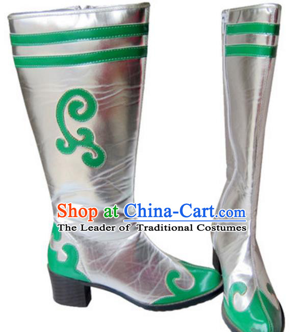 Chinese Traditional Zang Nationality Dance Shoes, Tibetan Minority Folk Dance Boots for Women