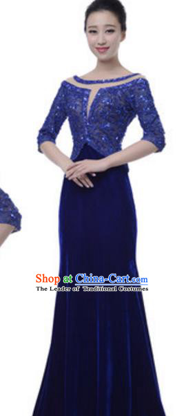 Top Grade Chinese Chorus Group Blue Full Dress, Compere Stage Performance Choir Costume for Women