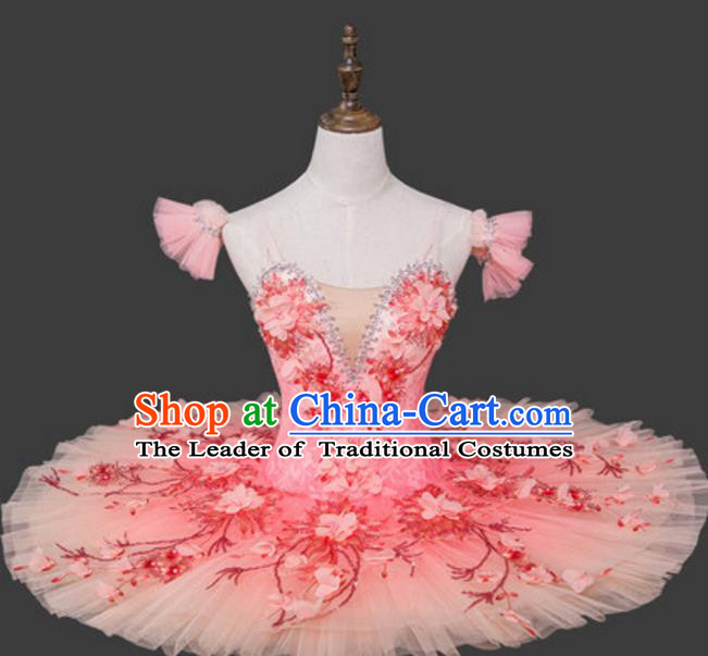 Top Grade Ballet Dance Costume Ballerina Dance Tu Tu Dancewear Pink Bubble Dress for Women