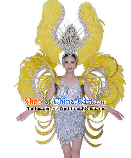 Top Grade Modern Dance Props Stage Show Brazil Parade Giant Yellow Feather Wings and Headpiece for Women