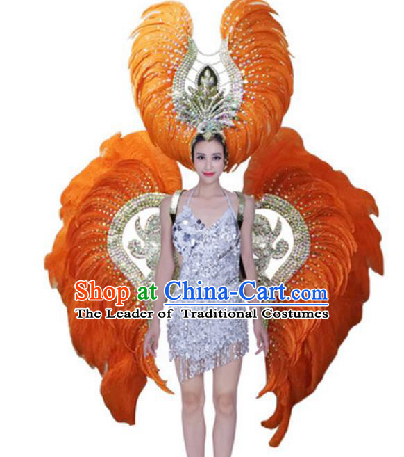 Top Grade Modern Samba Dance Props Stage Show Brazil Parade Giant Orange Feather Wings and Headpiece for Women