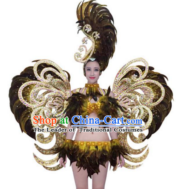 Top Grade Modern Samba Dance Props Stage Show Brazil Parade Giant Black Feather Wings and Headpiece for Women