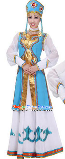 Traditional Chinese Mongol Nationality Costume, Chinese Mongolian Ethnic Dance Dress Clothing for Women