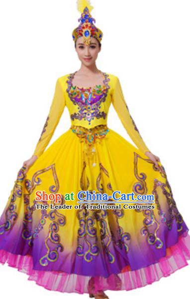 Traditional Chinese Uyghur Nationality Costume, Chinese Uigurian Ethnic Dance Dress Clothing and Hat for Women