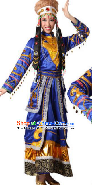 Traditional Chinese Mongolian Nationality Costume, Chinese Mongols Ethnic Dance Dress Clothing and Hat for Women