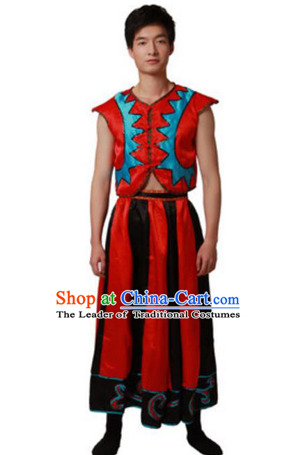 Traditional Chinese Yi Nationality Dance Dress, Chinese Yi Ethnic Dance Costume for Men