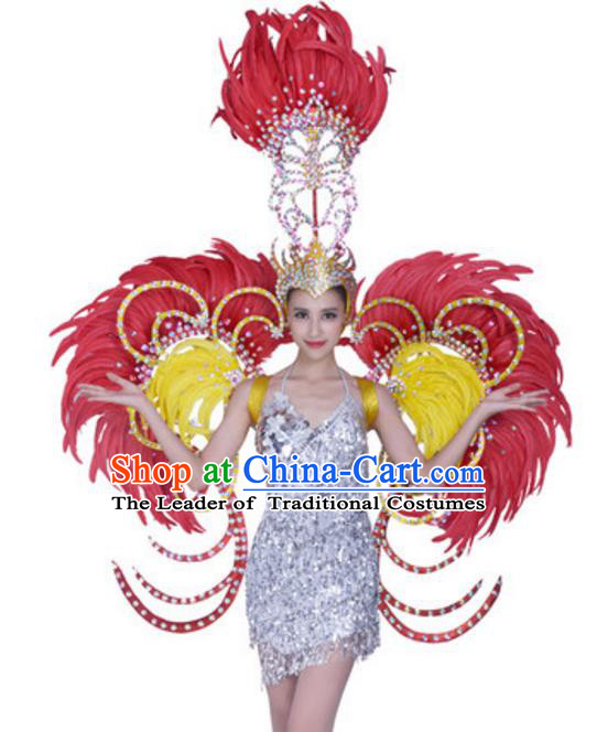 Top Grade Samba Dance Props Stage Show Brazil Parade Giant Rosy Feather Wings and Headpiece for Women