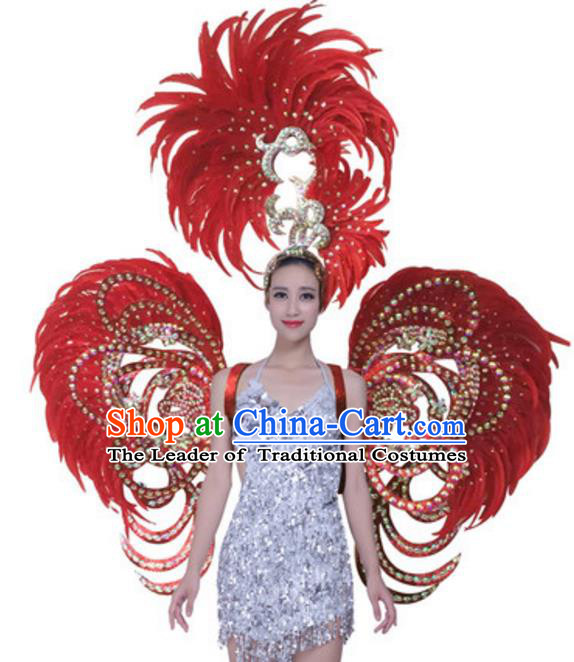 Top Grade Samba Dance Props Stage Show Brazil Parade Giant Red Feather Butterfly Wings and Headpiece for Women