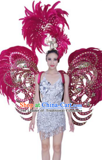 Top Grade Samba Dance Props Stage Show Brazil Parade Giant Rosy Feather Butterfly Wings and Headpiece for Women