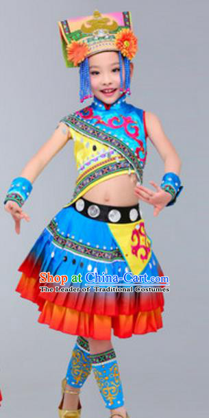 Traditional Chinese Zhuang Nationality Dance Costume, Chinese Zhuang Ethnic Folk Dance Clothing for Kids