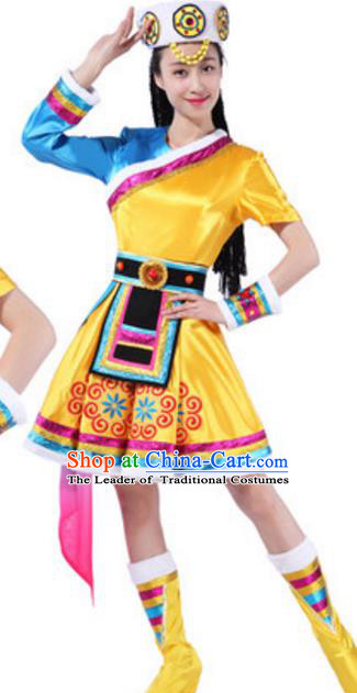 Traditional Chinese Nationality Mongolian Robe, China Mongols Ethnic Dance Costume and Hat for Women