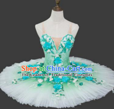 Top Grade Ballet Costume Green Bubble Dress Ballerina Dance Tu Tu Dancewear for Women