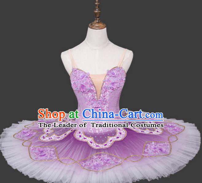 Top Grade Ballet Costume Lilac Bubble Dress Ballerina Dance Tu Tu Dancewear for Women