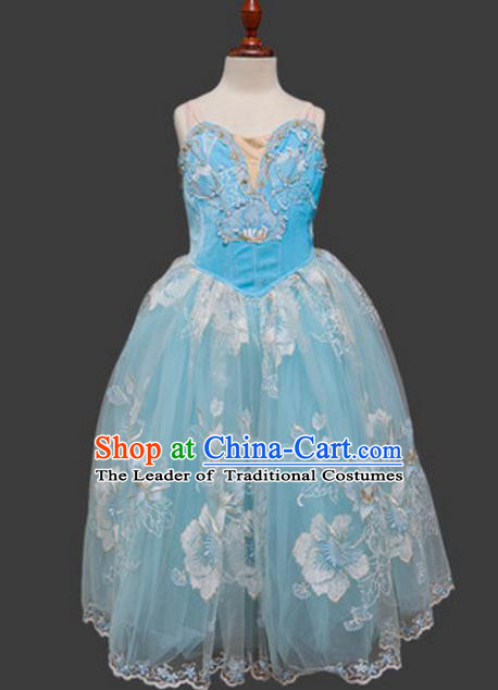 Top Grade Ballet Dance Costume Blue Dress Ballerina Skirt Tu Tu Dancewear for Women