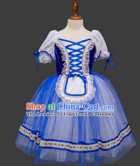 Top Grade Ballet Swan Dance Costume Blue Dress Ballerina Skirt Tu Tu Dancewear for Women