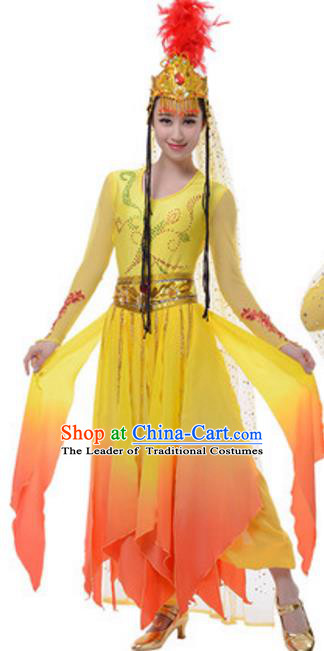 Traditional Chinese Uyghur Nationality Yellow Dress, China Uigurian Ethnic Dance Costume and Hat for Women