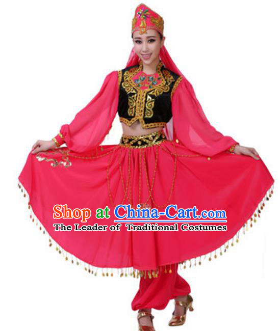 Traditional Chinese Uigurian Nationality Rosy Dress, China Uyghur Ethnic Dance Costume and Headwear for Women