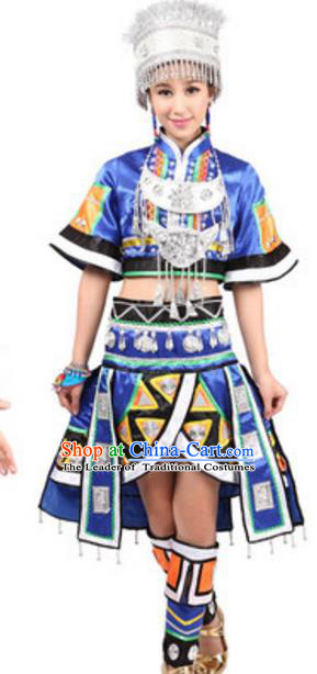 Traditional Chinese Miao Nationality Blue Pleated Skirt, Chinese Hmong Female Ethnic Folk Dance Costume and Headwear for Women